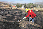 Resident Steven Bryan puts out hot spots near his home after the 200-300 acre Shooter fire threatens South Carson City, Nev., on Sunday, Aug. 14, 2016. <br /> Photo by Cathleen Allison