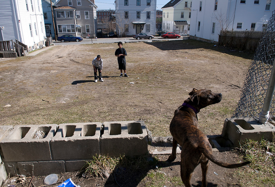 NEW BEDFORD, MA.--March 12, 2009--An empty lot on Pleasant Street in New Bedford, where a foreclosed triple-decker was bulldozed. .CREDIT: JODI HILTON FOR THE NEW YORK TIMES