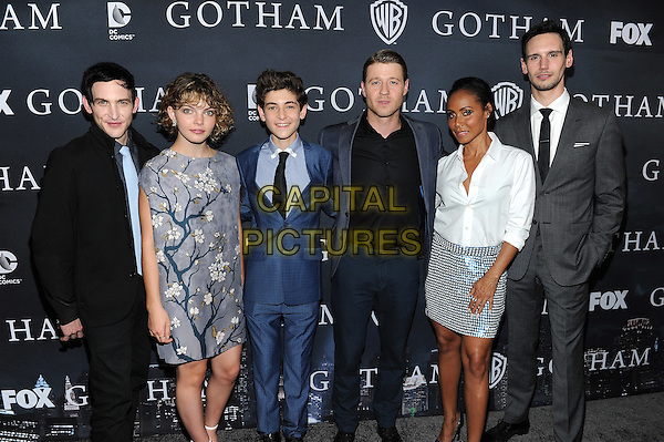 LOS ANGELES - APRIL 28: (L-R) Actors Robin Lord Taylor, Camren Bicondova, David Mazouz, Ben McKenzie, Jada Pinkett Smith and Cory Michael Smith attend FOX's 'Gotham' finale screening event at The Landmark Theatre on April 28, 2015 in Los Angeles, California. <br /> CAP/MPI/PGFM<br /> &copy;PGFM/MPI/Capital Pictures