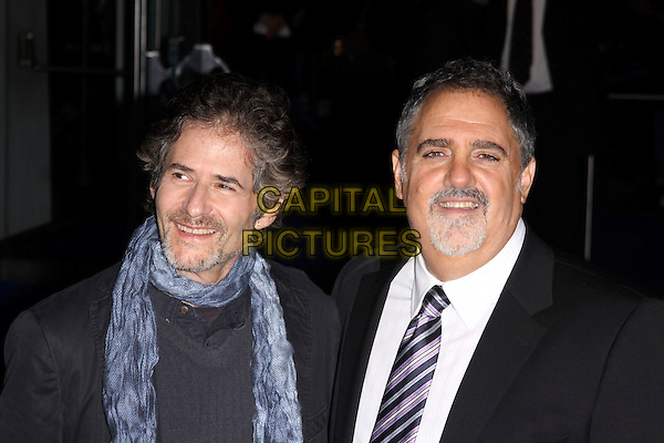 "JAMES HORNER & JON LANDAU.Arrivals - World Premiere of ""Avatar"", Odeon Leicester Square, London, England..December 10th, 2009.headshot portrait black white beard facial hair tie goatee blue scarf .CAP/AH.©Adam Houghton/Capital Pictures."