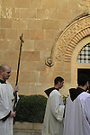 Israel, Jerusalem, Commemoration of the Flagellation of the Lord at the Church of the Flagellation, a solemn mass by the Franciscan brothers during Lent.