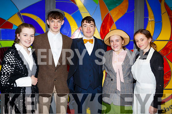 At the Mercy Mounthawk Secondary School annual musical Dress Rehearsal My Fair Lady, l-r, Hannah Tangsley, Louie Burne, Michael Moynihan, Ailise Ryan and Ailson Lane.