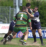 01/06/2002.Sport - Rugby - Zurich Championship.Bristol v Northampton.Shogans Felipe Contepomi right - Tackles Saints Andrew Blowers.   [Mandatory Credit, Peter Spurier/ Intersport Images].
