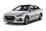 2018 Hyundai Sonata Hybrid Limited 4 Door Sedan angular front stock photos of front three quarter view