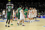 Real Madrid´s players greet Unicaja´s players at the end of 2014-15 Liga Endesa match between Real Madrid and Unicaja at Palacio de los Deportes stadium in Madrid, Spain. April 30, 2015. (ALTERPHOTOS/Luis Fernandez)
