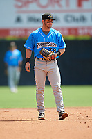 Akron RubberDucks second baseman Tyler Friis (38) during an Eastern League game against the Bowie Baysox on May 30, 2019 at Prince George's Stadium in Bowie, Maryland.  Akron defeated Bowie 9-5.  (Mike Janes/Four Seam Images)