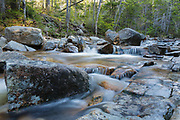 North Fork Hancock Brook crossing along Cedar Brook Trail in the White Mountains, New Hampshire during the spring months.