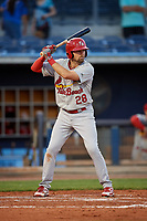 Palm Beach Cardinals first baseman Stefan Trosclair (28) at bat during a game against the Charlotte Stone Crabs on April 20, 2018 at Charlotte Sports Park in Port Charlotte, Florida.  Charlotte defeated Palm Beach 4-3.  (Mike Janes/Four Seam Images)