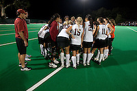 STANFORD CA - September 23, 2011: Victory huddle after defeating Cal following the Stanford vs Cal at vs Lehigh field hockey game at the Varsity Field Hockey Turf Friday night at Stanford.<br /> <br /> The Cardinal team defeated the Golden Bears 3-2.