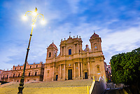 Noto at night, St Nicholas Cathedral (Noto Cathedral), a Baroque building in Noto, Val di Noto, UNESCO World Heritage Site, Sicily, Italy, Europe. This is a photo of St Nicholas Cathedral (Noto Cathedral), a Baroque building in Noto at night, Val di Noto, UNESCO World Heritage Site, Sicily, Italy, Europe.