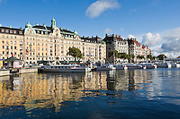 Sightseeing boats along waterfront, Stockholm, Sweden