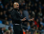 Josep Guardiola manager of Manchester City urges his players to keep calm during the premier league match at the Etihad Stadium, Manchester. Picture date 3rd December 2017. Picture credit should read: Andrew Yates/Sportimage