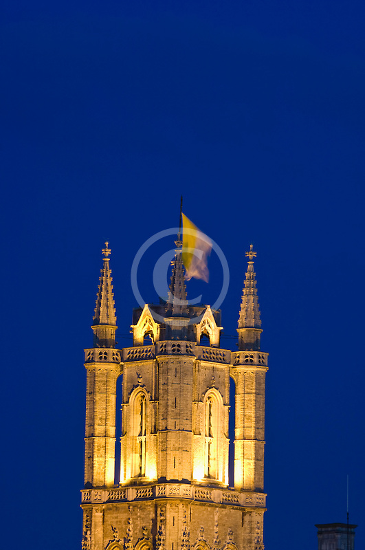 Belgium, Ghent, St. Bavo's Cathedral at night