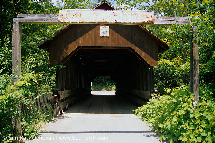 Dingleton Covered Bridge in Cornish, New Hampshire USA. This bridge crosses Mill Brook.