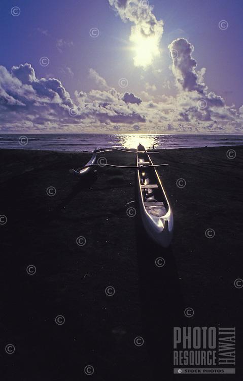 Outrigger canoe, Waimea beach, west Kauai, late afternoon.
