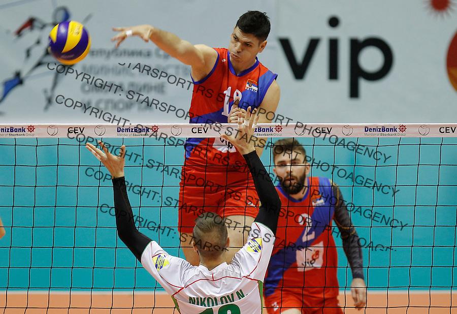 Odbojka Volleyball<br /> Srbija v Bugarska-Prijateljski mec<br /> Marko Podrascanin (C)<br /> Beograd, 29.12.2015.<br /> foto: Srdjan Stevanovic/Starsportphoto &copy;