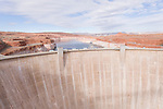 Glen Canyon Dam, Page, Arizona; as viewed from the Glen Canyon Dam bridge, with Lake Powell in the background