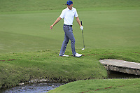 Jordan Spieth (USA) lands his 2nd shot in the creek at the 18th green during Saturday's Round 3 of the 2017 PGA Championship held at Quail Hollow Golf Club, Charlotte, North Carolina, USA. 12th August 2017.<br /> Picture: Eoin Clarke | Golffile<br /> <br /> <br /> All photos usage must carry mandatory copyright credit (&copy; Golffile | Eoin Clarke)