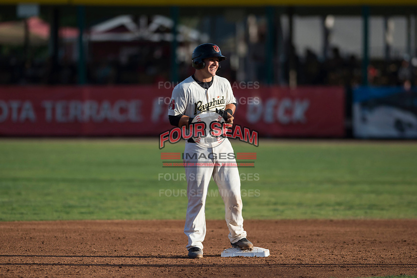 Visalia Rawhide catcher Daulton Varsho (9) stands on second base after hitting a second inning double during a California League game against the Stockton Ports at Visalia Recreation Ballpark on May 8, 2018 in Visalia, California. Stockton defeated Visalia 6-2. (Zachary Lucy/Four Seam Images)