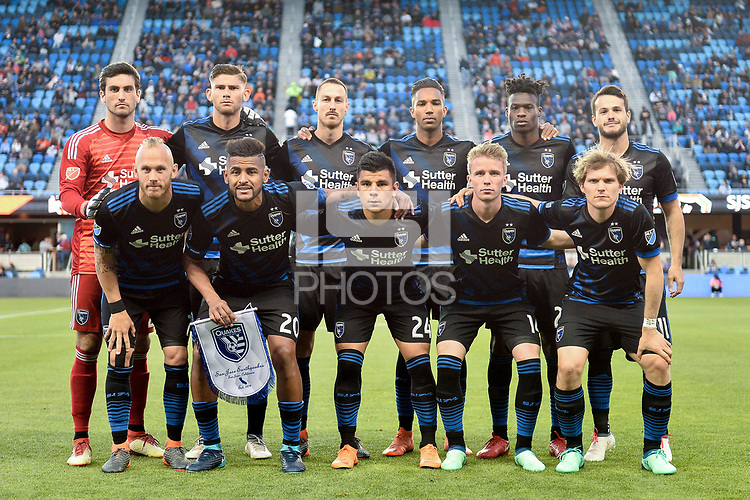 San Jose, CA - Saturday April 14, 2018: San Jose Earthquakes Starting Eleven prior to a Major League Soccer (MLS) match between the San Jose Earthquakes and the Houston Dynamo at Avaya Stadium.