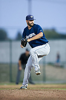 Helena Brewers relief pitcher Parker Bean (45) in action against the Great Falls Voyagers at Centene Stadium on August 19, 2017 in Helena, Montana.  The Voyagers defeated the Brewers 8-7.  (Brian Westerholt/Four Seam Images)