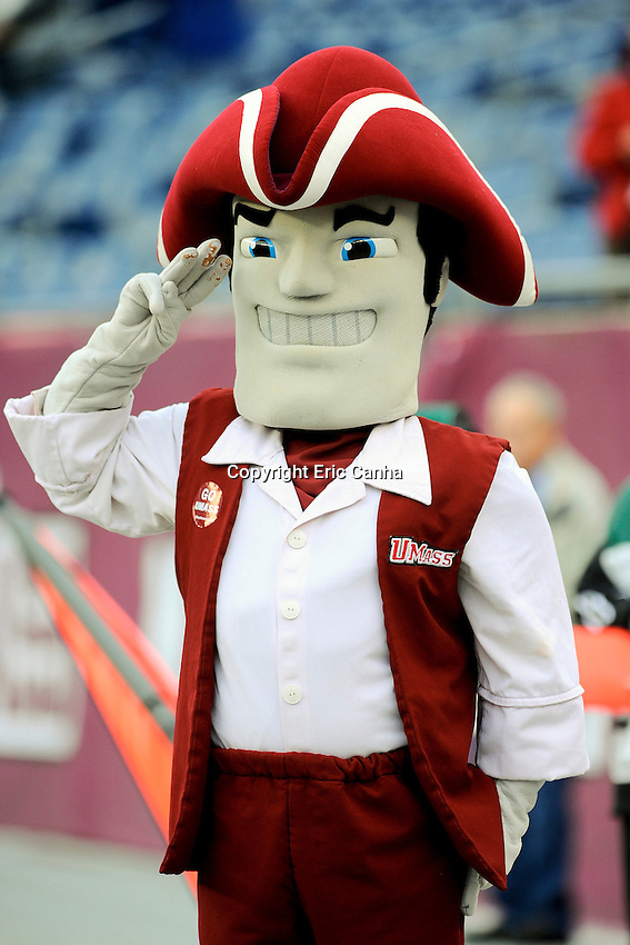 September 29, 2012 The UMass mascot Sam the Minuteman salutes the flag during the playing of the National Anthem before the start of the UMass Minutemen vs Ohio Bobcats NCAA football game played at Gillette Stadium in Foxborough, Massachusetts. Final score Ohio 37  UMass 34  Eric Canha/CSM