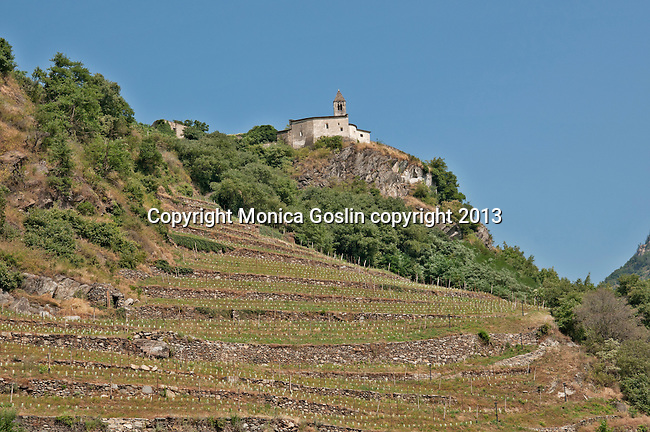 Church of St. Perpetua and vineyards above the city of Tirano, Italy