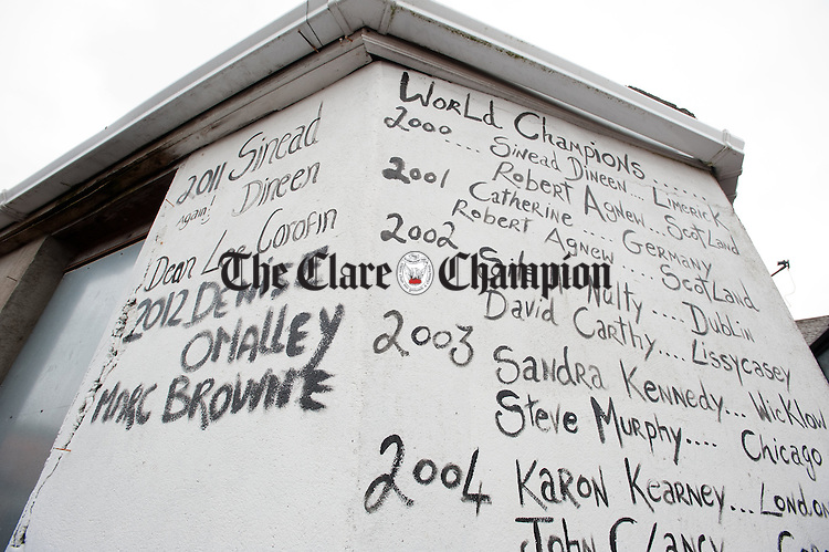 The writing on the wall during the World Stone Throwing Championships as party of the Festival of Finn at Corofin. Photograph by John Kelly.