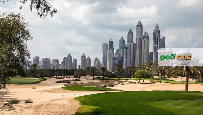Over the 13th fairway ahead of the 2016 Omega Dubai Desert Classic played at the Emirates Golf Club, Dubai, United Arab Emirates.  30/01/2016. Picture: Golffile | David Lloyd<br /> <br /> All photos usage must carry mandatory copyright credit (&copy; Golffile | David Lloyd)