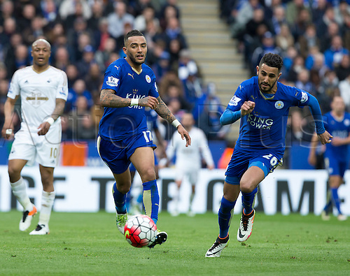 24.04.2016. King Power Stadium, Leicester, England. Barclays Premier League. Leicester versus Swansea.  Leicester City defender Danny Simpson chasing the ball in his goal area.