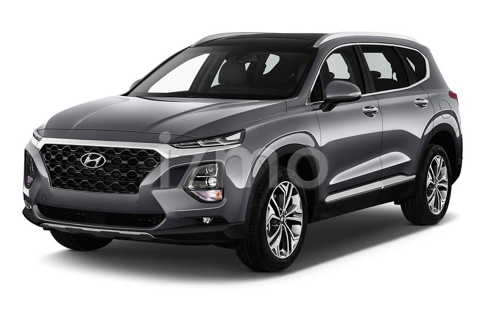 2019 Hyundai Santa FE Shine 5 Door SUV angular front stock photos of front three quarter view