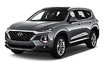 2019 Hyundai Santa FE Shine 5 Door SUV angular front stock photos of front three quarter view