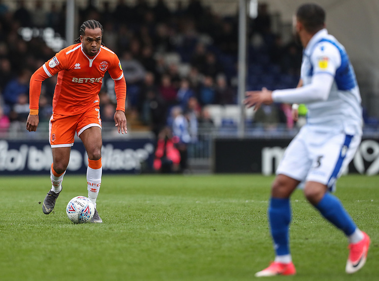 Blackpool's Nathan Delfouneso breaks <br /> <br /> Photographer Andrew Kearns/CameraSport<br /> <br /> The EFL Sky Bet League Two - Bristol Rovers v Blackpool - Saturday 2nd March 2019 - Memorial Stadium - Bristol<br /> <br /> World Copyright © 2019 CameraSport. All rights reserved. 43 Linden Ave. Countesthorpe. Leicester. England. LE8 5PG - Tel: +44 (0) 116 277 4147 - admin@camerasport.com - www.camerasport.com