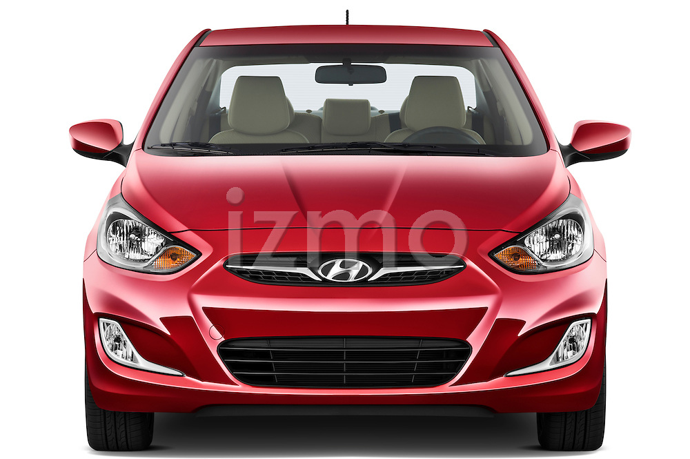 Straight front view of a 2012 Hyundai Accent GLS Sedan