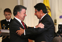 BOGOTA -COLOMBIA , 01- Agosto-2016.Posesión del nuevo fiscal general de la nación Nestor Humberto  Martínez ante el presidente de la República de Colombia Juan Manuel Santos, Palacio de Nariño./ Ownership of the new Attorney General of the nation Nestor Humberto Martinez to the President of the Republic of Colombia Juan Manuel Santos, Palacio de Nariño. Photo: VizzorImage / Felipe Caicedo / Staff