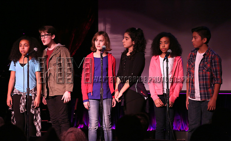 Grace Capeless, Jake Lucas, Sydney Lucas, Alexandria Suarez, Akira Golz and Bonale Fambrini performing at The Lilly Awards Broadway Cabaret'   at The Cutting Room on November 9, 2015 in New York City.