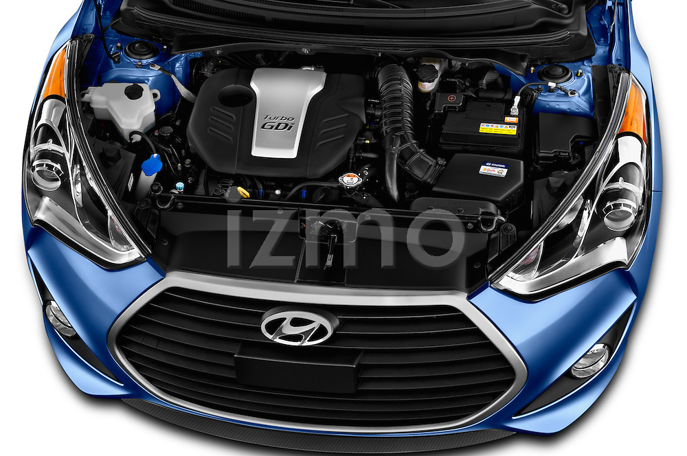 Car Stock 2016 Hyundai Veloster 1.6 Turbo Rally Edition Manual 4 Door Hatchback Engine  high angle detail view