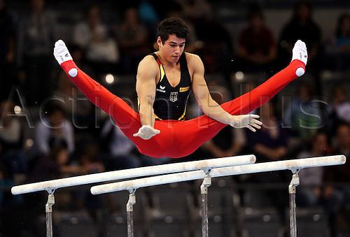 30.11.2012. Stuttgart, Germany.  Bars Daniel Weinert ger  Gymnastics World Cup