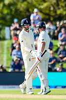 Mark Stoneman(l) congradulate James Vince of England on getting to 50 runs during Day 3 of the Second International Cricket Test match, New Zealand V England, Hagley Oval, Christchurch, New Zealand, 1st April 2018.Copyright photo: John Davidson / www.photosport.nz
