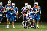 "San Francisco Dragons vs Los Angeles Riptide.Lebard Stadium, Orange Coast College,Huntington Beach, California.The Los Angeles Riptide players take the field with Anthony ""A-Train"" Kelly (#34) pushing Cameron Piorek of Aliso Niguel High School, who is paralyzed from the chest down as a result of a collision during a high school lacrosse game in April 2008.506P0749.JPG.CREDIT: Dirk Dewachter"