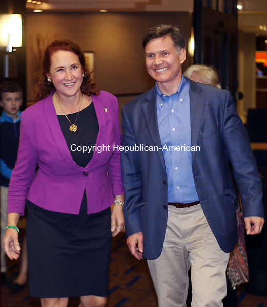 WATERBURY CT. 08 November 2016-110816SV11-Rep. Elizabeth H. Esty, D-5th District and her husband Dan Esty enter a room at the Courtyard Marriott to give her victory speech in Waterbury Tuesday.<br /> Steven Valenti Republican-American