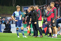 Manager Gareth Ainsworth of Wycombe Wanderers gives instructions to Jack Williams during the Carabao Cup match between Wycombe Wanderers and Fulham at Adams Park, High Wycombe, England on 8 August 2017. Photo by Alan  Stanford / PRiME Media Images.