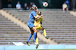 30 August 2013: Duke's Lizzy Raben (6) and Kennesaw State's Maggie Gaughan (7) challenge for a header. The Duke University Blue Devils played the Kennesaw State University Owls at Fetzer Field in Chapel Hill, NC in a 2013 NCAA Division I Women's Soccer match. Duke won 1-0.