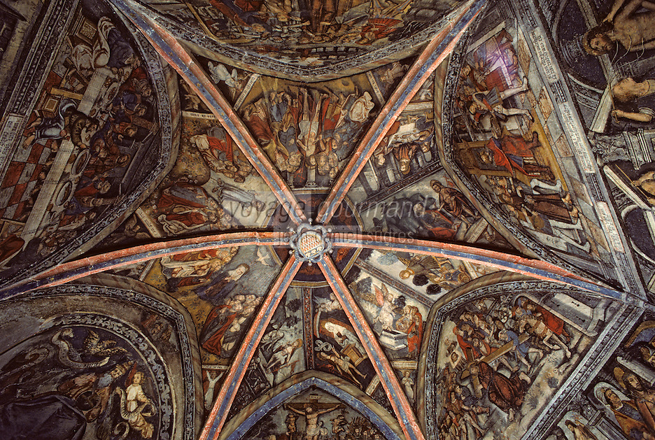 Europe/France/Auvergne/15/Cantal/Tournemire: Château d'Anjony: détail des fresques 16 e S de la Chapelle représentant La Passion