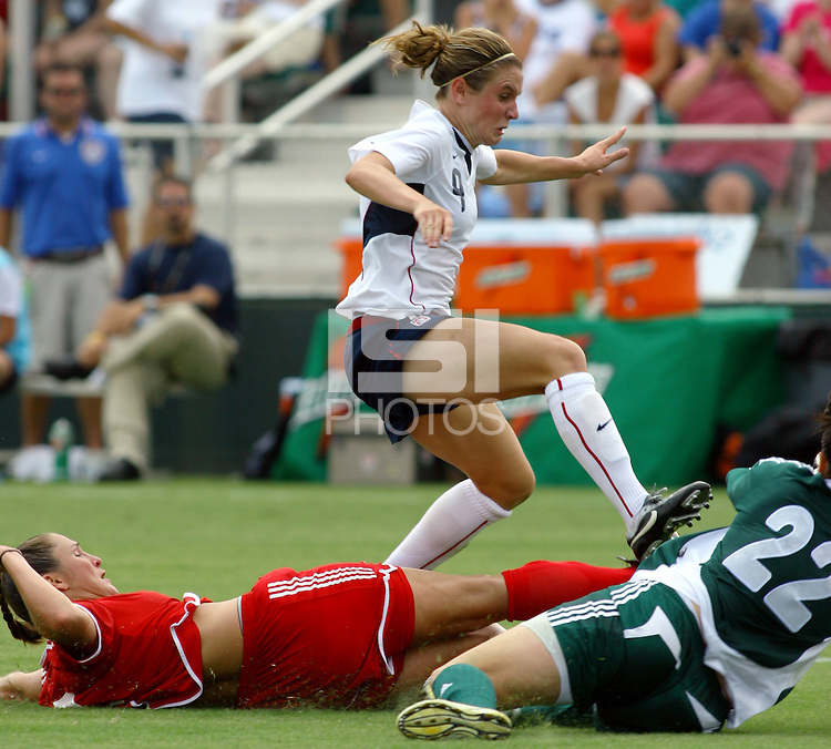 Heather O'Reilly tries to make a play in the box. The USA defeated Canada 2-0 at SAS Stadium in Cary, NC on Sunday, July 30, 2006.
