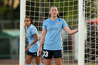 Piscataway, NJ, Saturday May 7, 2016. Sky Blue FC defender Erin Simon (33) and midfielder Taylor Lytle (6) man the posts on a corner kick.  The Western New York Flash defeated Sky Blue FC, 2-1, in a National Women's Soccer League (NWSL) match at Yurcak Field.