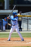 Rafael Romero (8) of the Burlington Royals at bat against the Greeneville Reds at Burlington Athletic Stadium on July 8, 2018 in Burlington, North Carolina. The Royals defeated the Reds 4-2.  (Brian Westerholt/Four Seam Images)