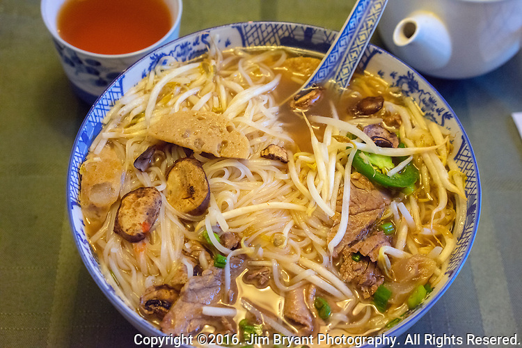 Vietnamese, Pho soup made with beef, meat balls, rice noodles, bean sprouts, onions, Bok Choy cabbage,and green cabbage  ©2016. Jim Bryant Photo. All Rights Reserved
