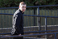 Pictured: Daniel Stewart Skelton arrives at Teesside Justice Centre in Middlesbrough. Tuesday 21 March 2017<br /> Re: A man who allegedly assaulted a Swansea photographer has appeared before Teesside Magistrates Court.<br /> Dimitris Legakis was in Middlesbrough preparing to take pictures of Swansea City's Premier League match there, when he was attacked by Daniel Skelton.<br /> Skelton, 28, of Redcar, is facing multiple charges - including two which are racially or religiously aggravated.<br /> The incident took place on December 16 in the town's Southfield Road.<br /> Magistrates declined jurisdiction and the matter will be dealt with at Middlesbrough Crown Court.