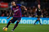 2nd February 2019, Camp Nou, Barcelona, Spain; La Liga football, Barcelona versus Valencia; Arturo Vidal of FC Barcelona passes the ball through midfield